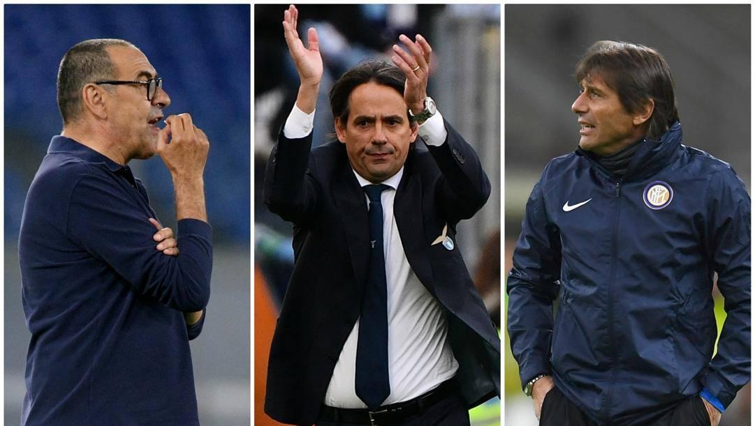Maurizio Sarri, Simone Inzaghi e Antonio Conte