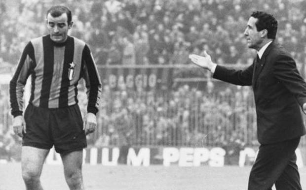 Mario Corso ed il tecnico Helenio Herrera, due miti dell'Inter