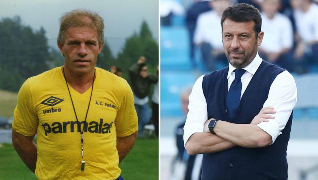 Nevio Scala, allenatore del Parma dall'89 al '96, e Roberto D'Aversa, sulla panchina gialloblù dal 2016