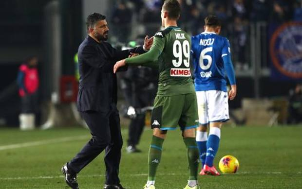 Rino Gattuso con Arek Milik. Getty