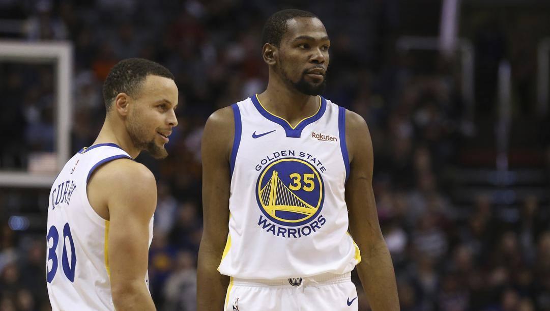 Steph Curry e Kevin Durant, insieme ai Warriors tra il 2016 e il 2019. Ap