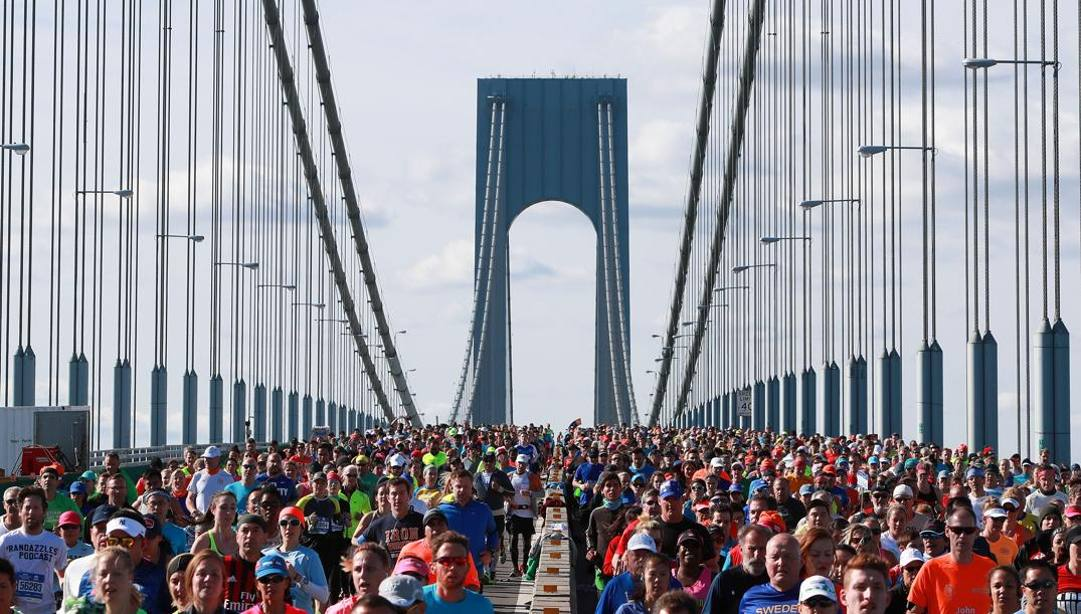 La partenza della maratona di New York. Getty