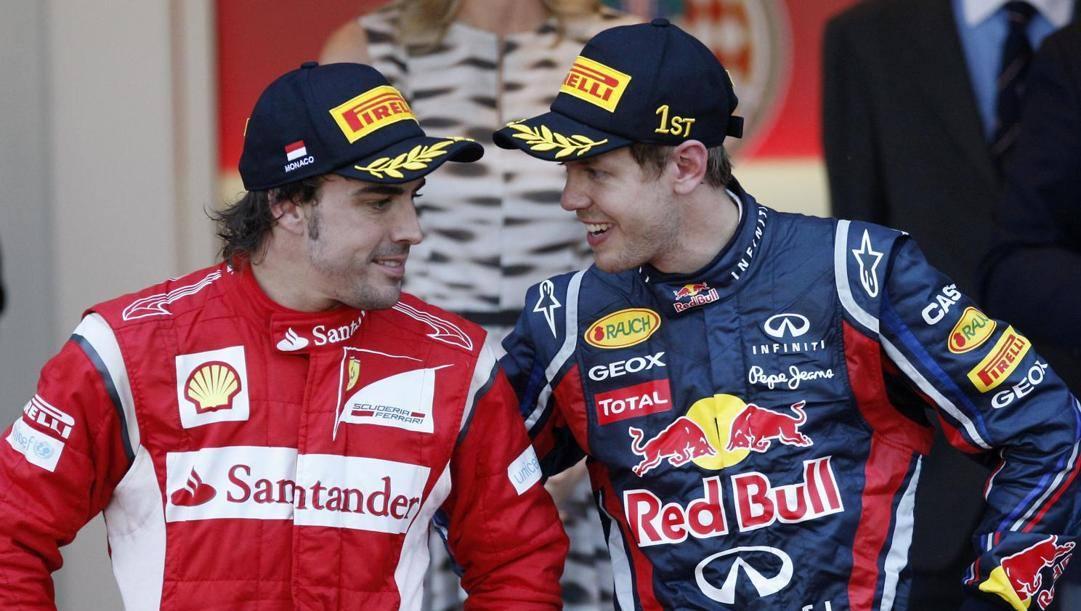 Fernando Alonso e Seb Vettel in una foto del 2011. Ap