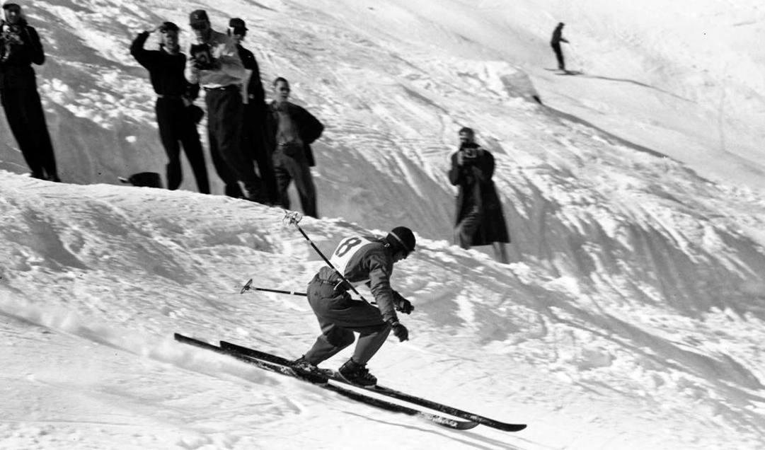 Zeno Colò in gara ai Mondiali di Aspen nel 1950