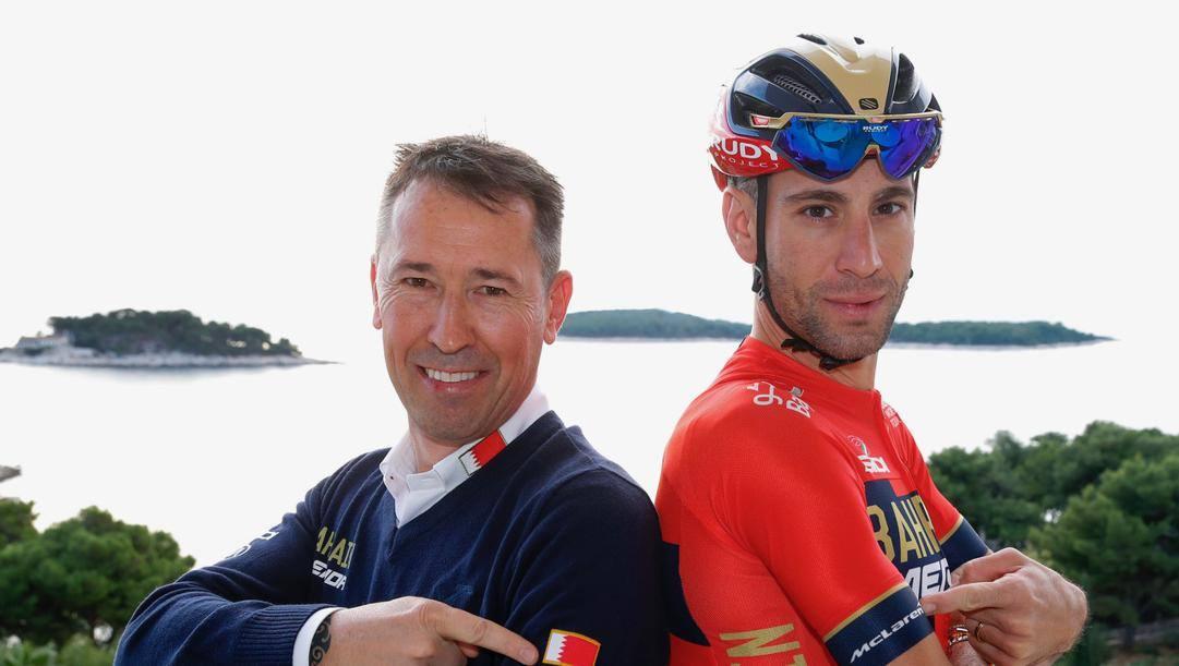 Brent Copeland con Vincenzo Nibali.
