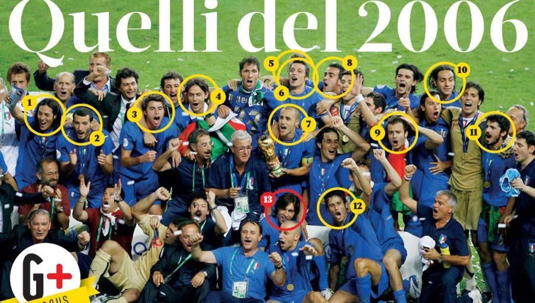 L'Italia campione del mondo 2006 e, nel cerchietto, tutti quelli che oggi sono diventati allenatori...