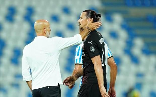 Stefano Piioli e Zlatan Ibrahimovic. Lapresse