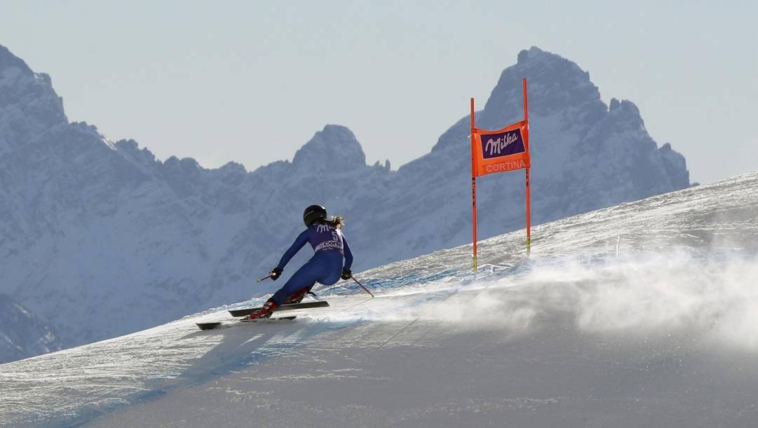 Sofia Goggia in azione a Cortina nel 2018. Ap
