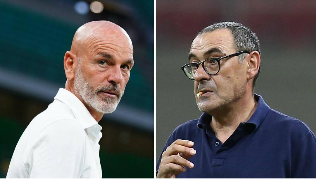 Stefano Pioli, 54 anni, e Maurizio Sarri, 61. LaPresse