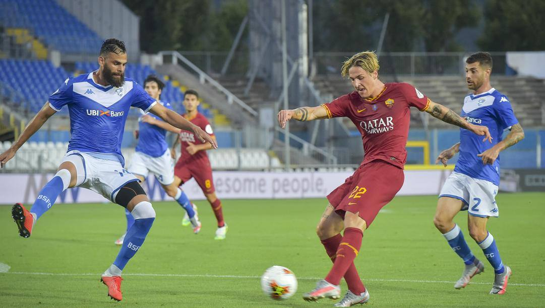 Nicolò Zaniolo, 21 anni, in azione contro il Brescia. Lapresse