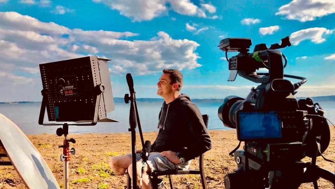 Emiliano Malagoli sul set del documentario