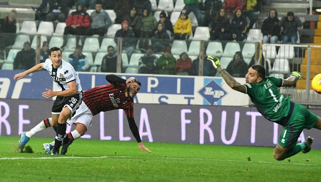 Il gol di Theo all'andata. Getty