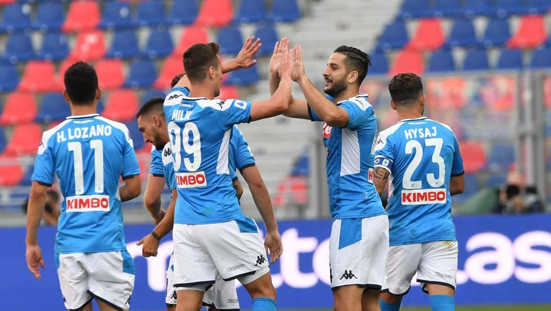 Manolas festeggia il gol con Milik. Getty