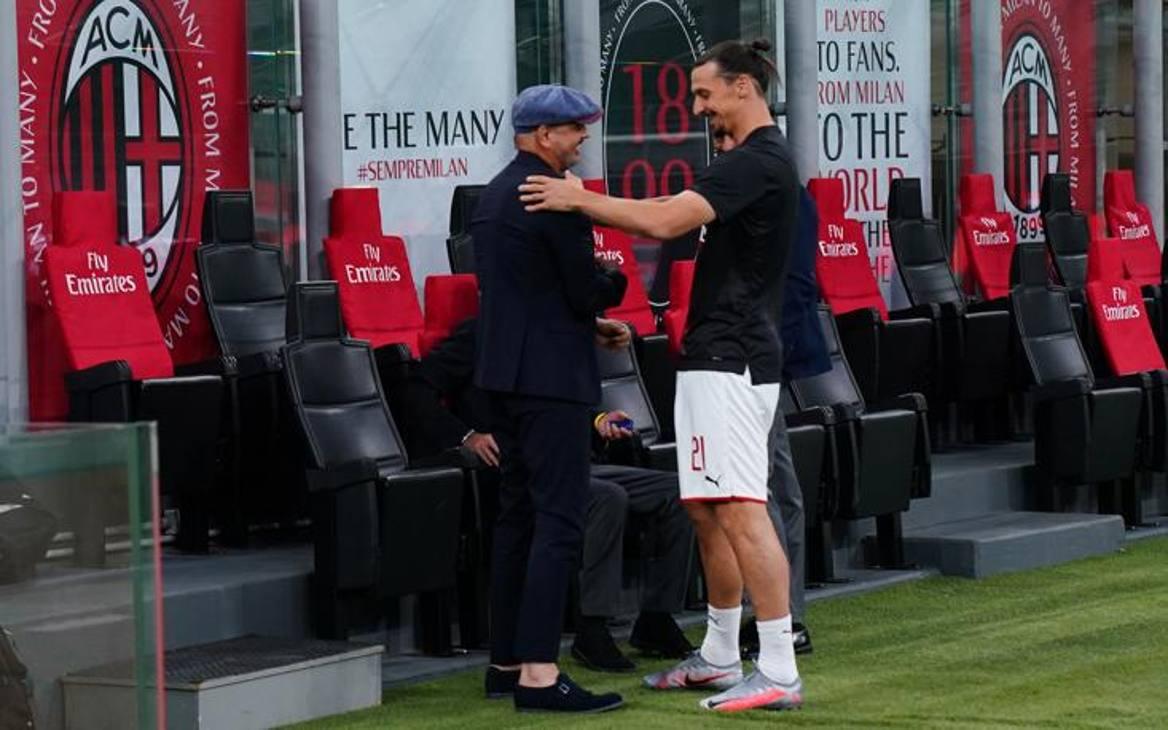 Milan-Bologna, prima del via l'abbraccio tra Sinisa Mihajlovic e Zlatan Ibrahimovic. Lapresse