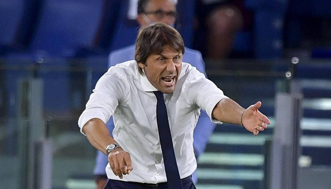 Antonio Conte ieri sera all'Olimpico. LaPresse