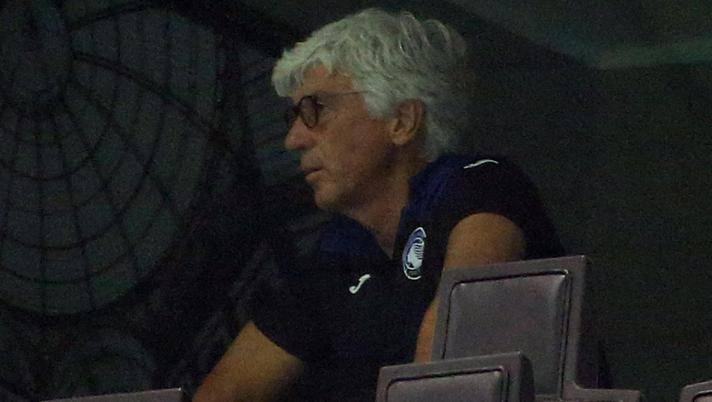 Gian Piero Gasperini, squalificato, in tribuna a San Siro. Ansa