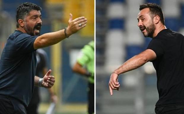 Rino Gattuso e Roberto De Zerbi. Lapresse