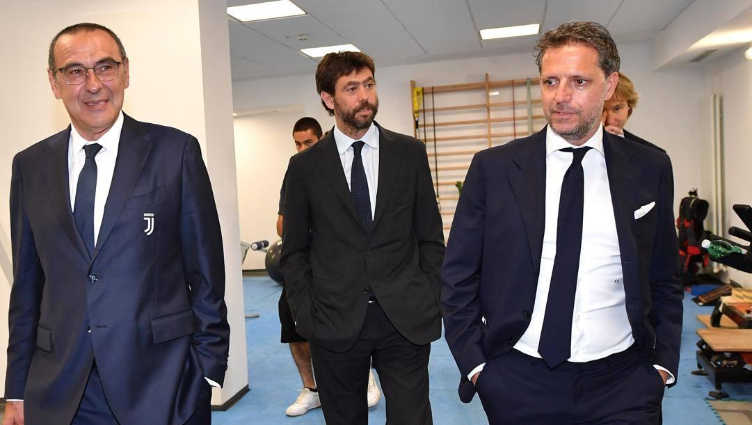 Da sinistra Sarri, Agnelli, Paratici e, seminascosto, Nedved. Getty Images