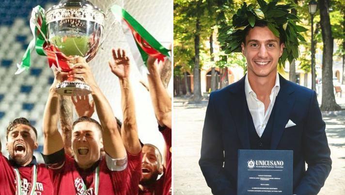 Alessandro Spanò, 26 anni, capitano della Reggiana promossa in B e neolaureato