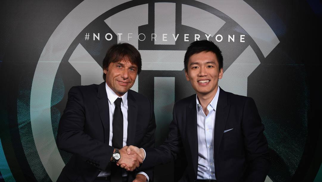 Antonio Conte col presidente dell'Inter Steven Zhang. Getty