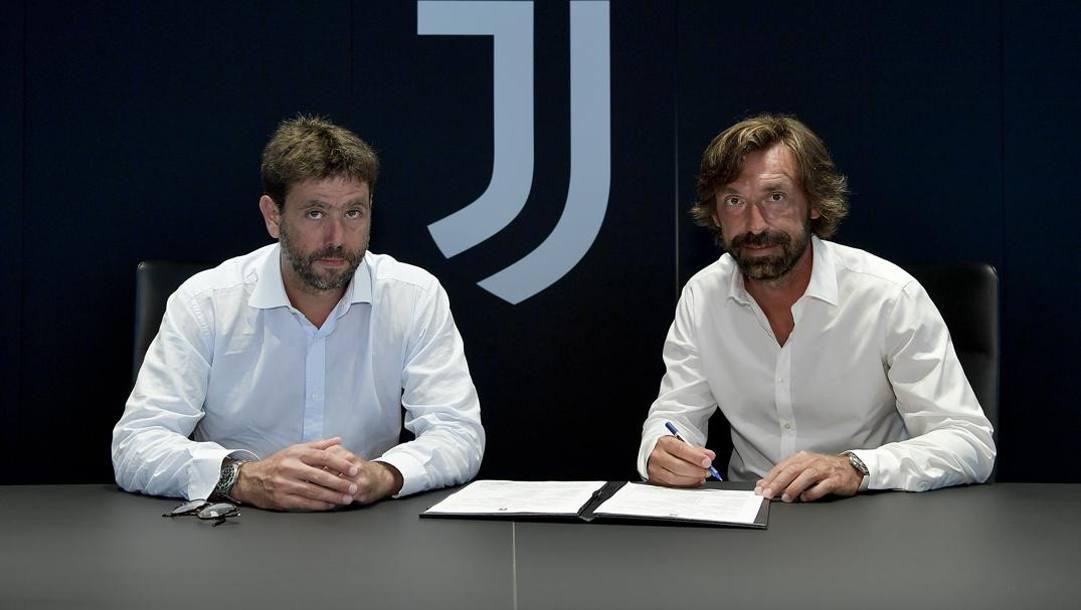 Andrea Agnelli, presidente della Juve, con Andrea Pirlo, allenatore dell'Under 23 bianconera. Getty