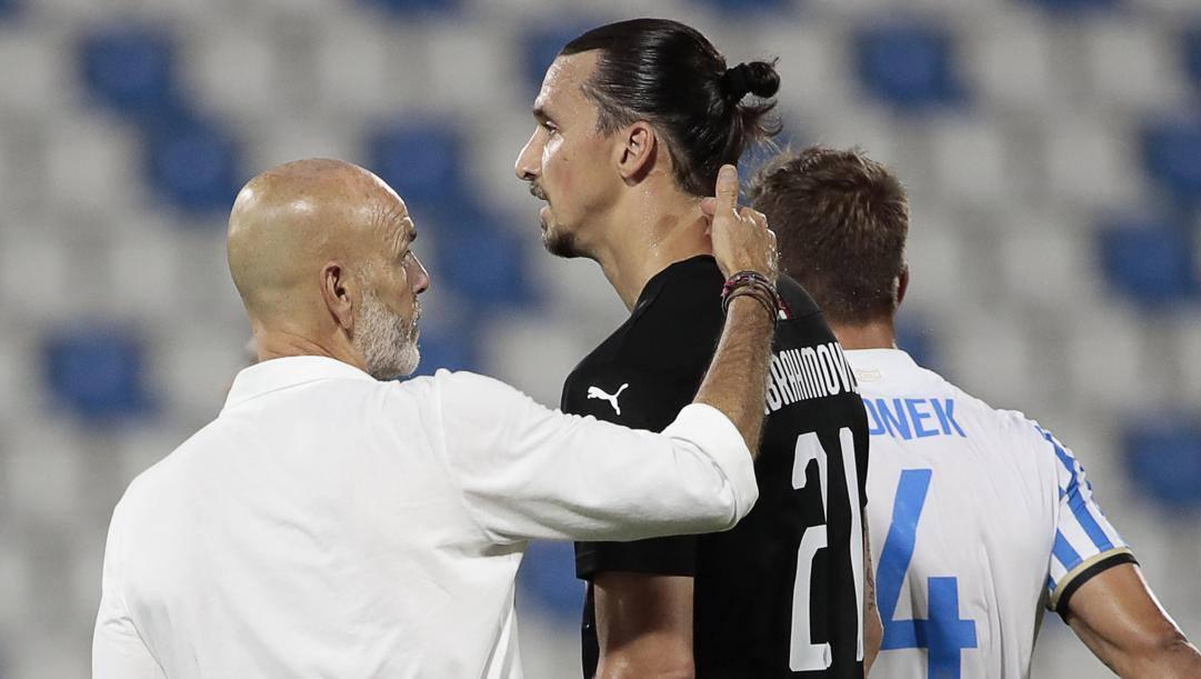Stefano Pioli e Zlatan Ibrahimovic, la coppia che ha rilanciato il Milan. Ansa