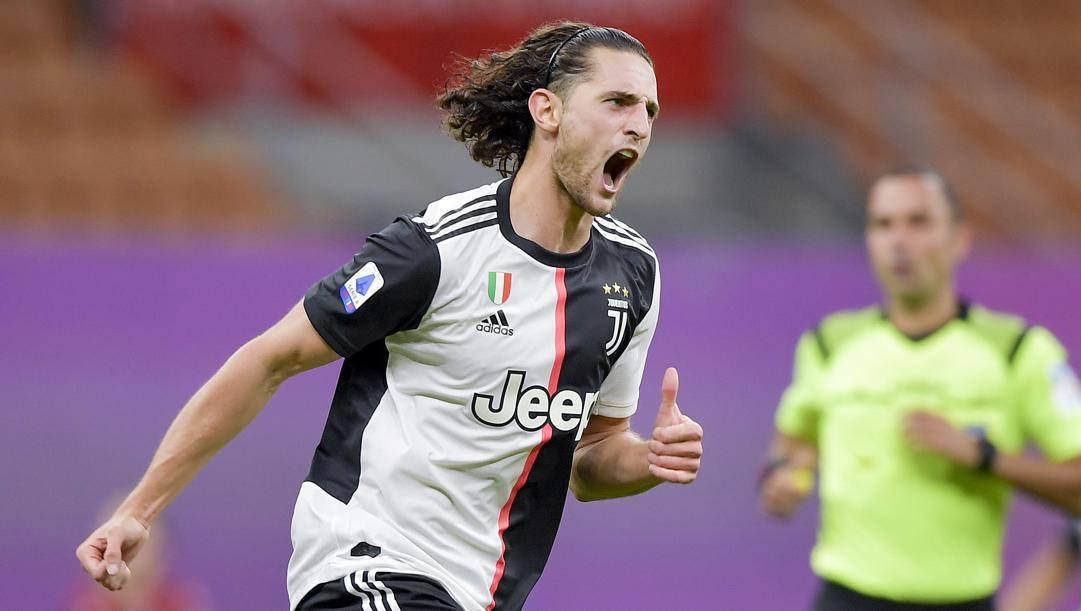 Adrien Rabiot, 25 qnni, dopo il gol segnato contro il Milan GETTY