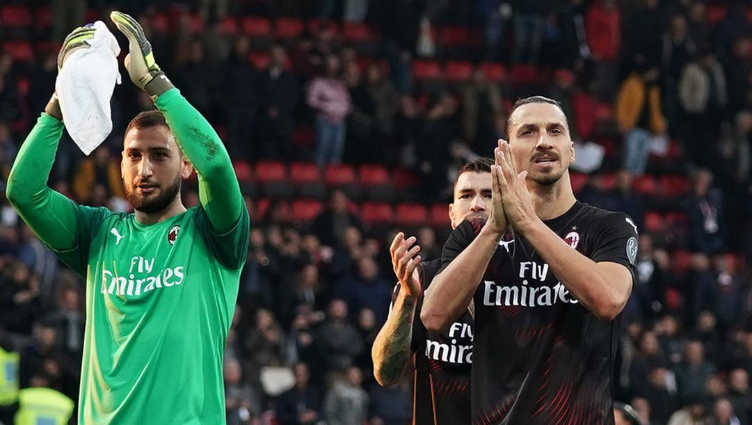 Da sinistra Gianluigi Donnarumma e Zlatan Ibrahimovic. Lapresse