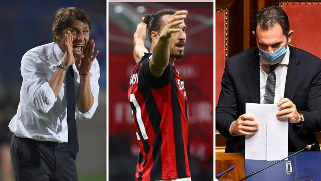 Da sinistra Antonio Conte, Zlatan Ibrahimovic e Vincenzo Spadafora. Getty/Ansa