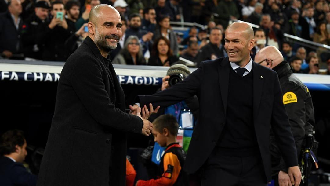 Pep Guardiola e Zinedine Zidane. Getty