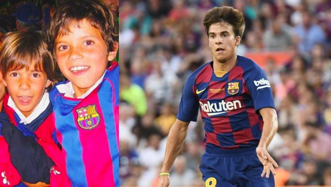 Riqui Puig da ragazzino (foto del Mundo) e con la maglia del Barcellona. Getty