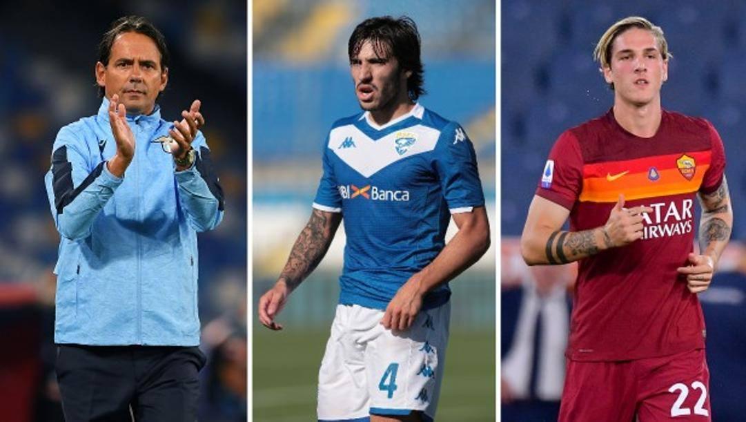 Da sinistra Simone Inzaghi, Sandro Tonali e Nicolò Zaniolo