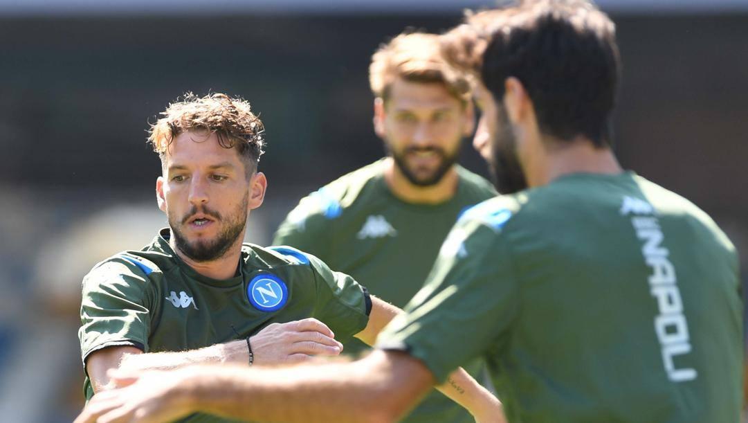 Dries Mertens, 33 anni, durante l'allenamento del Napoli. Getty