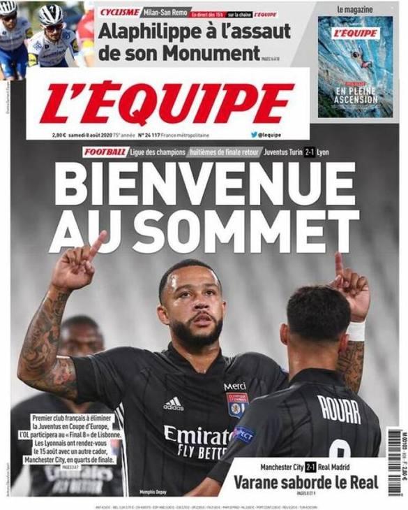 Inevitabile festa Lione sulla prima pagina dell'Equipe