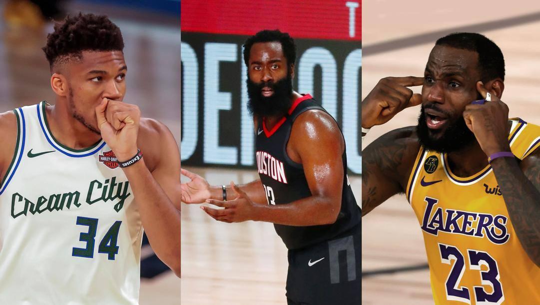Giannis Antetokounmpo, James Harden, LeBron James