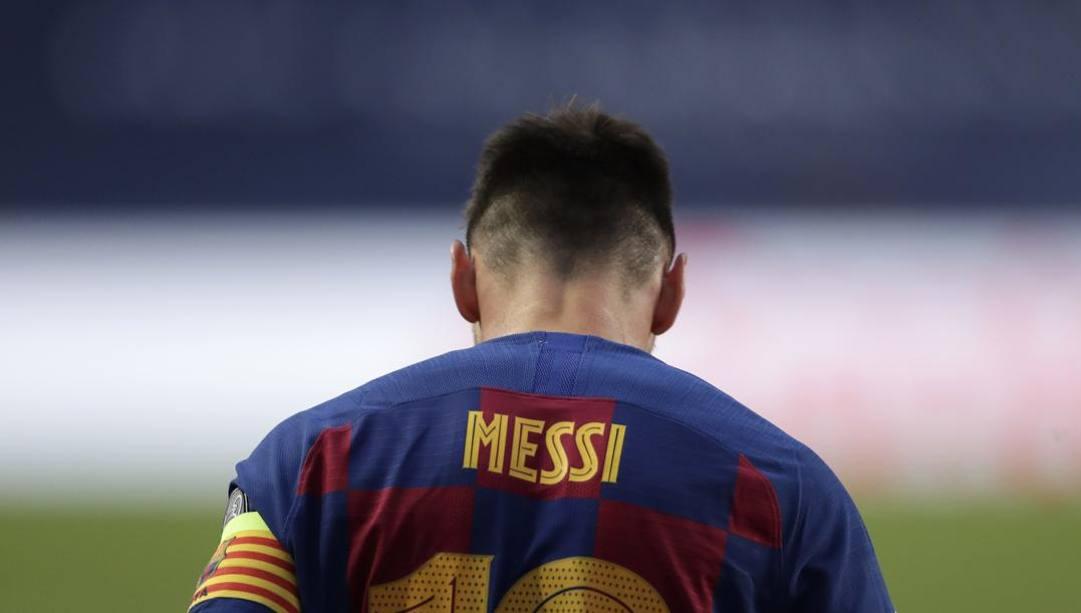La delusione di Leo Messi dopo il 2-8 contro il Bayern. Ap