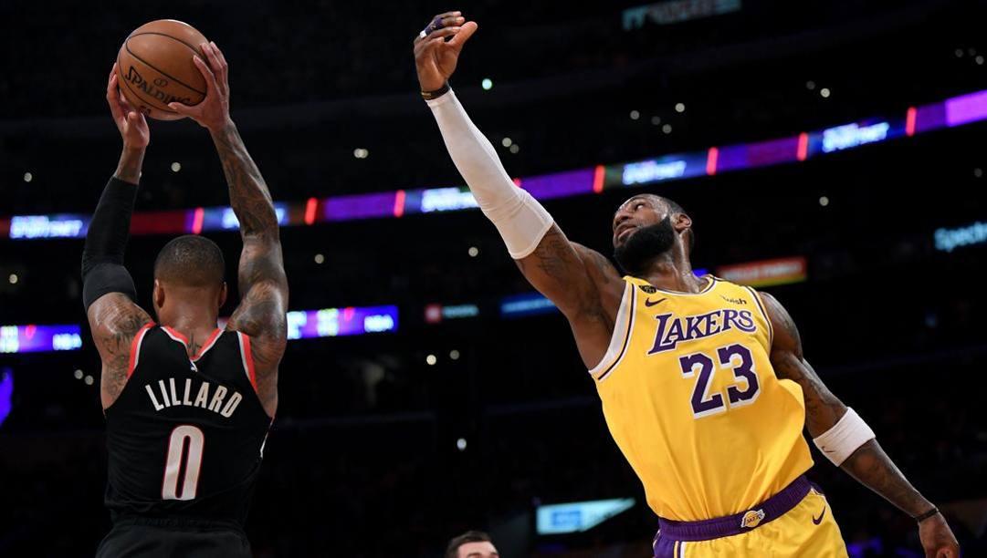 Damian Lillard, 30 anni, e LeBron James, 35: sono i protagonisti annunciati di Portland-Lakers. Afp