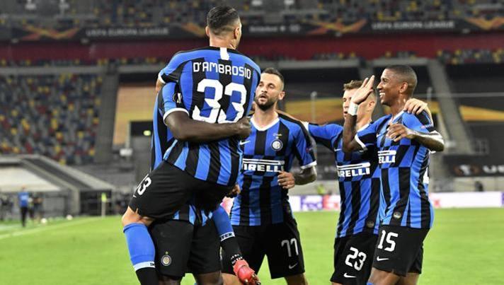 L'esultanza dell'Inter nel quarto di finale contro il Bayer. Lapresse