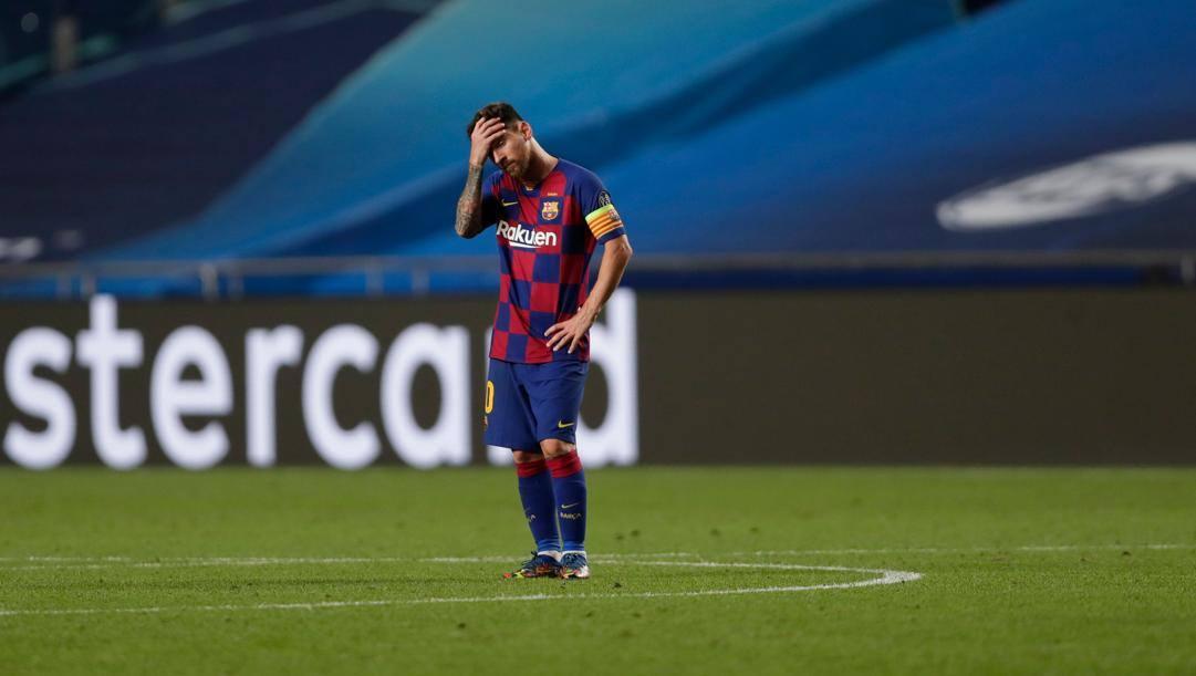 Leo Messi, 33 anni, disperato contro il Bayern. Afp