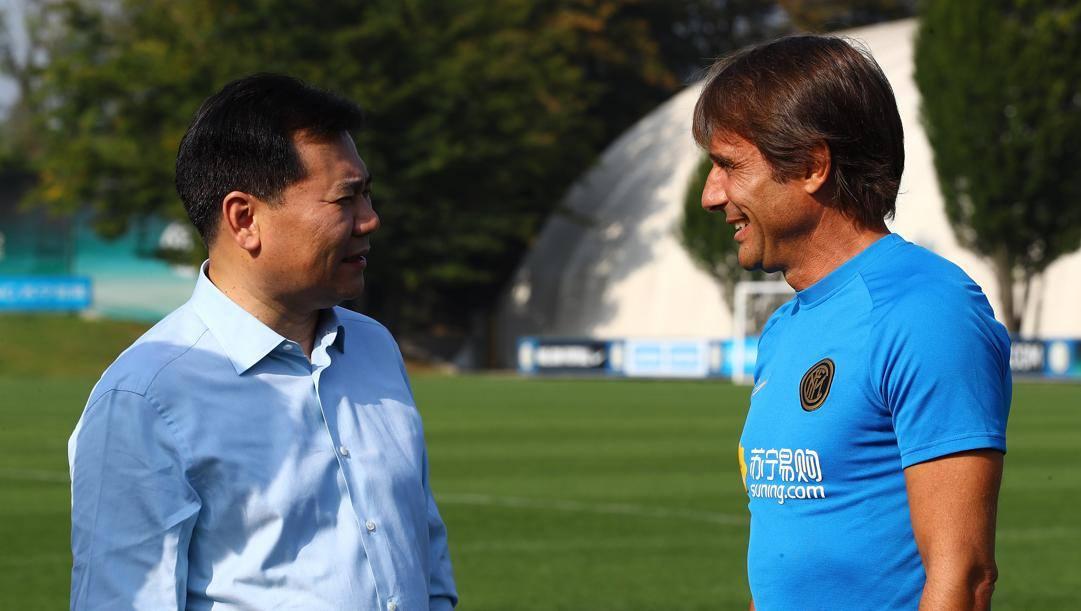 Il presidente nerazzurro Zhang con Antonio Conte. Getty