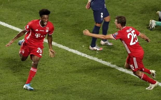 La gioia di Coman dopo il gol dell'1-0. Epa