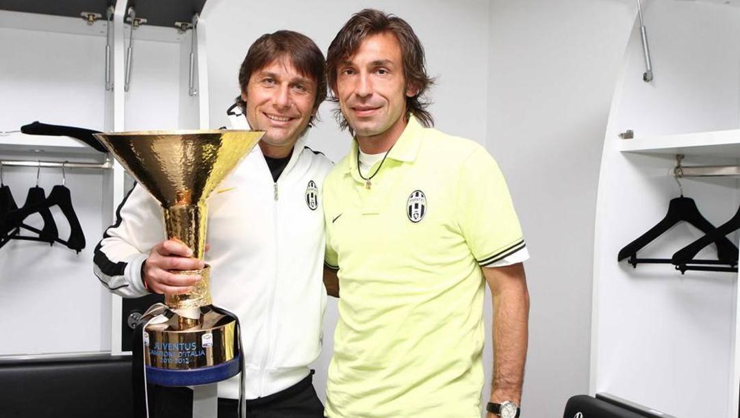 Antonio Conte e Andrea Pirlo. Lapresse