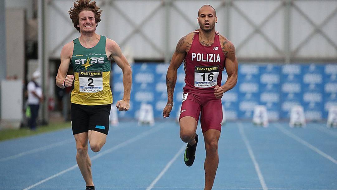 Marcell Jacobs, a destra, con Roberto Rigali (2°). Fidal