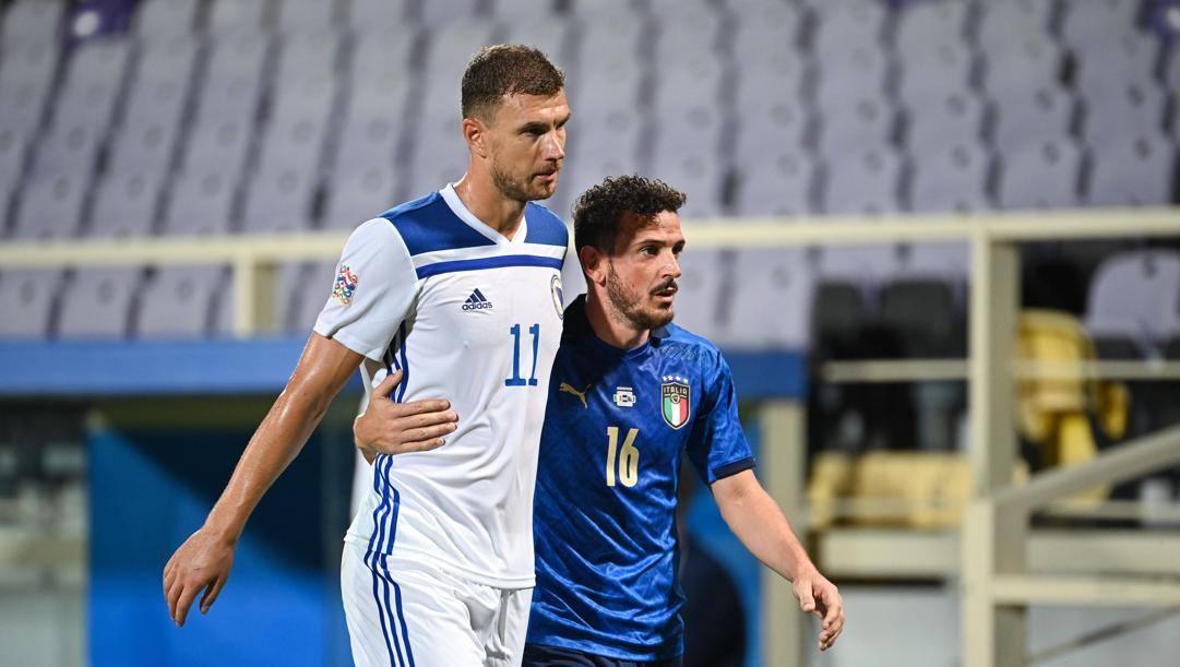 "Abbraccio ""giallorosso"" tra Dzeko e Florenzi. LaPresse"