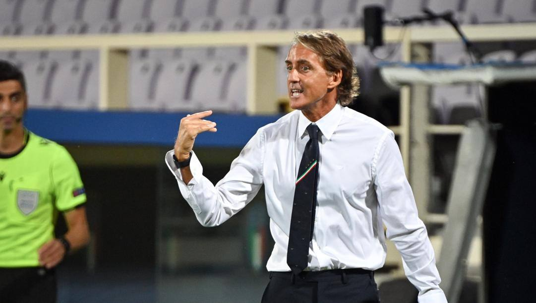 Il c.t. azzurro Roberto Mancini. Lapresse