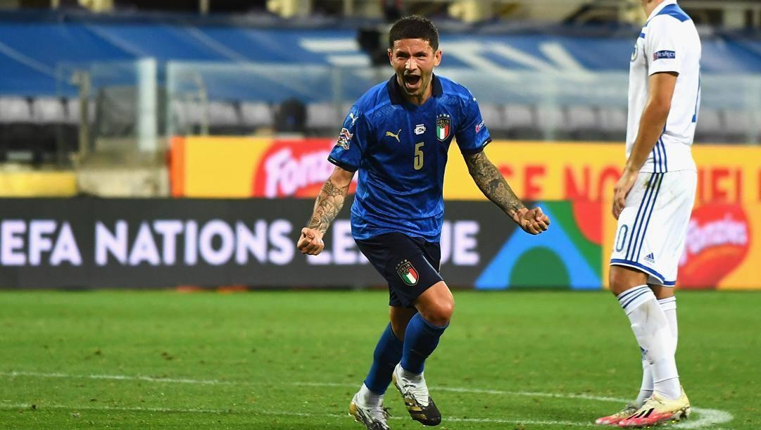 Stefano Sensi dopo il gol alla Bosnia. Getty