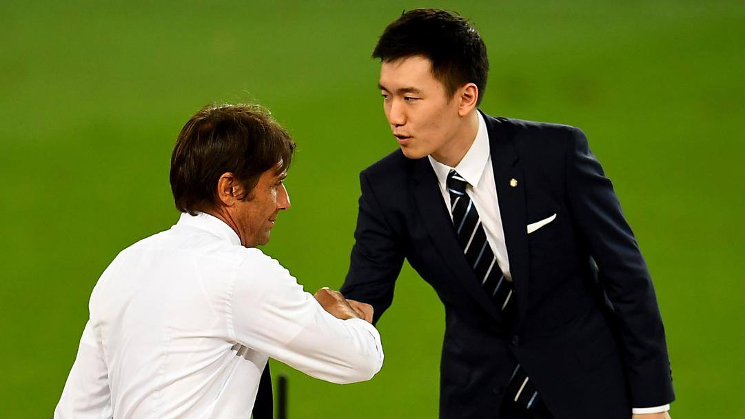 Antonio Conte e il presidente dell'Inter Steven Zhang. Getty