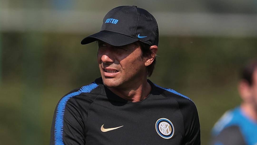 Antonio Conte, 51 anni, ieri durante l'allenamento ad Appiano. Getty Images