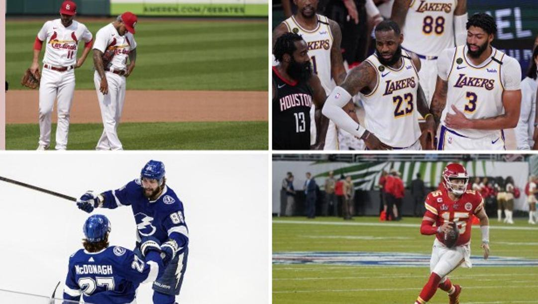 Da sinistra in alto in senso orario: St. Louis Cardinals, Los Angeles Lakers, tampa Bay Lightning e Kansa City Chiefs. Afp