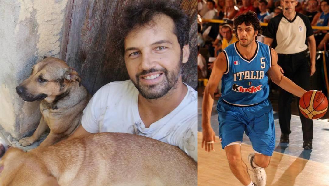 Gianluca Basile. A sinistra con i suoi cani, a destra con la maglia della Nazionale